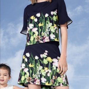 VICTORIA BECKHAM Floral Satin Skirt